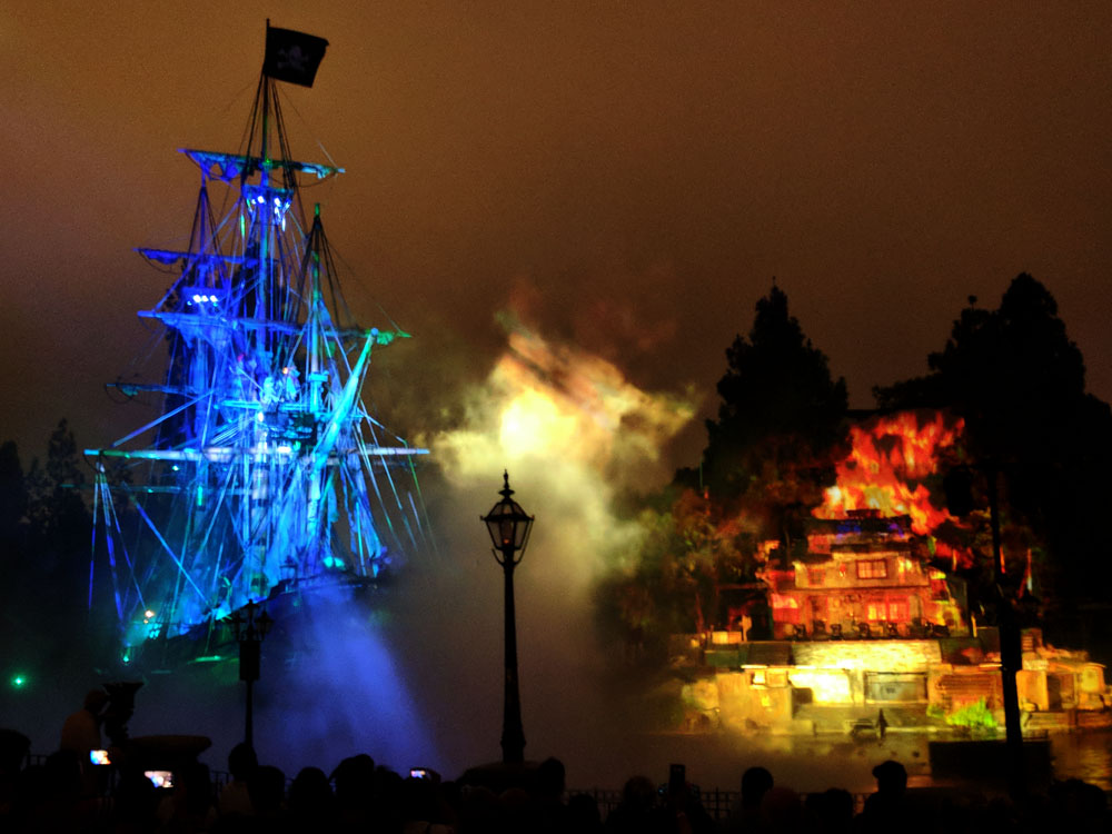 Pirate ship during Fantasmic! at Disneyland