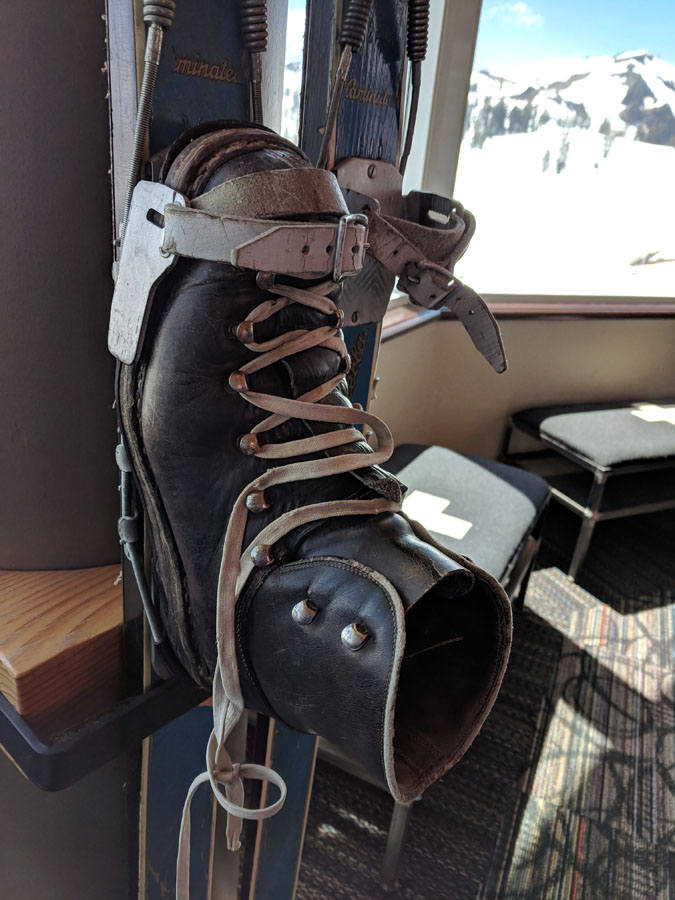 Old-fashioned ski boot at the Squaw Valley Olympic Museum