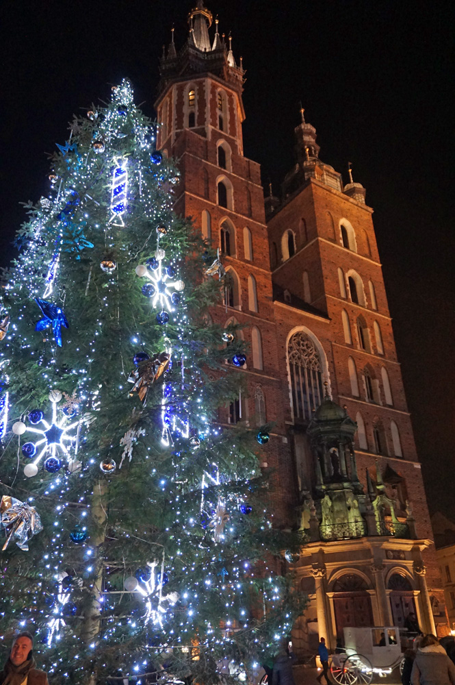 Christmas tree in front of St. Mary's Basilica in Krakow, Poland