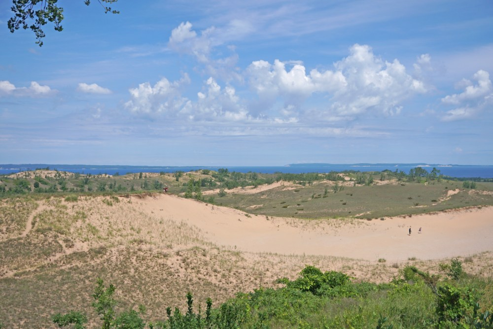 View of sand dunes and Lake Michigan from the Pierce-Stocking Scenic Drive, one of the top things to do in Sleeping Bear Dunes National Lakeshore