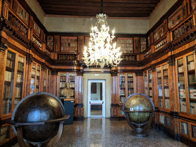 Old books and globes in the Correr Museum in Venice