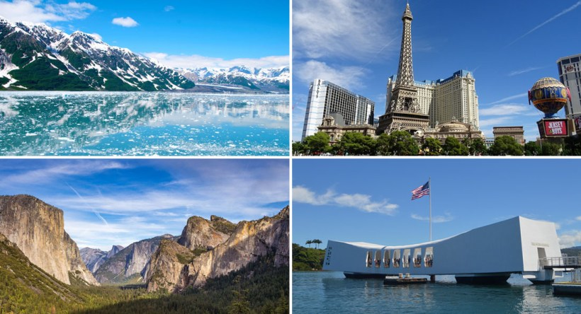 Collage of things to do on the West Coast including glaciers in Alaska 94ac5d3b8502