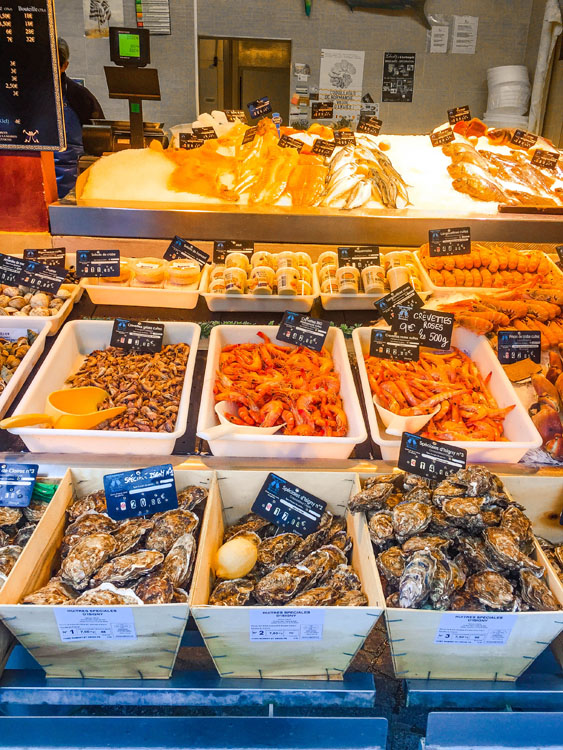 Fresh seafood for sale at the fish market in Trouville-sur-Mer in France
