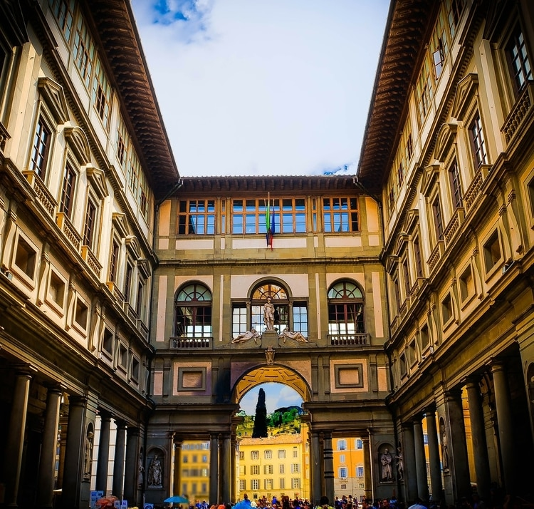 Exterior of the Uffizi Gallery in Florence, Italy