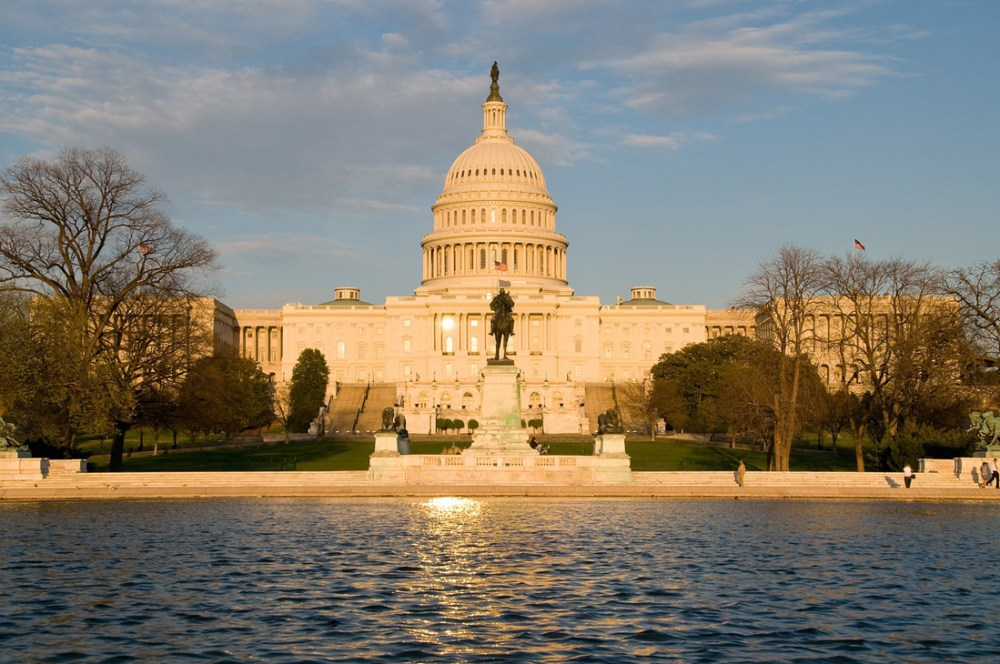 United States Capitol building with reflecting pool