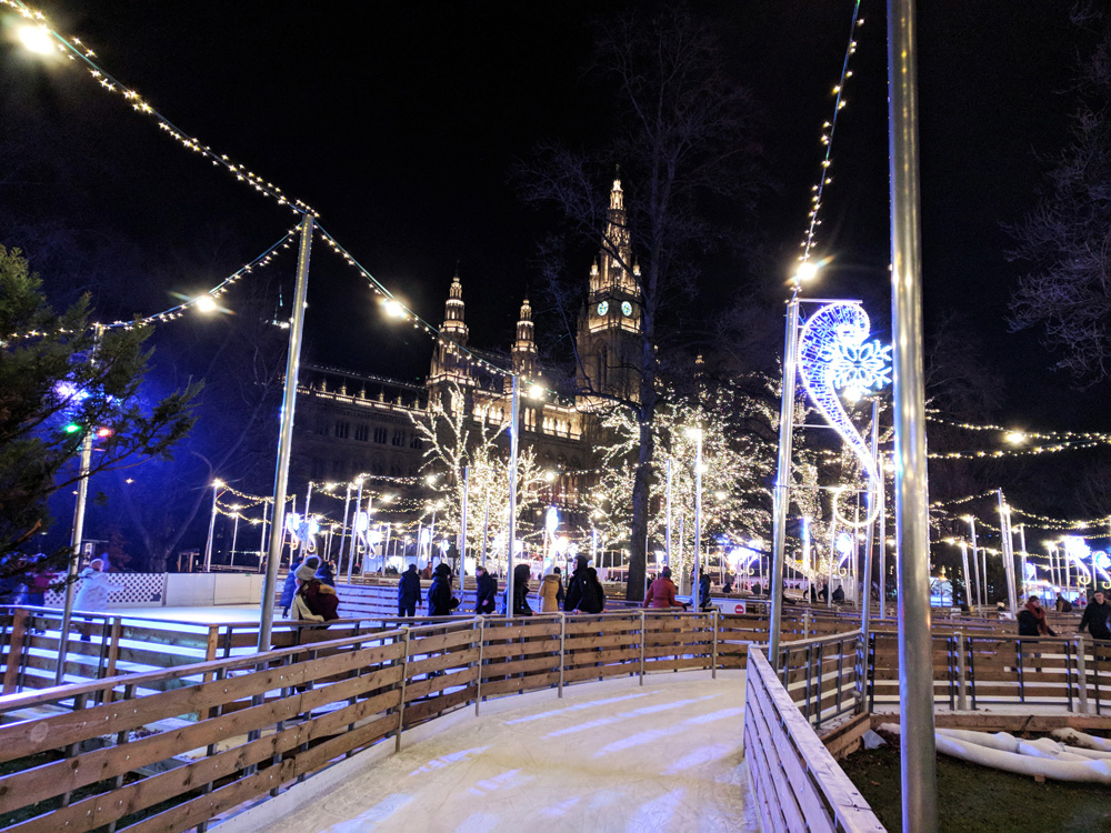 Ice covered skating path in front of the Vienna Rathaus