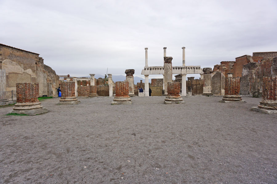 The Basilica or Court of Justice with its ruined columns is one of the top things to do in Pompeii