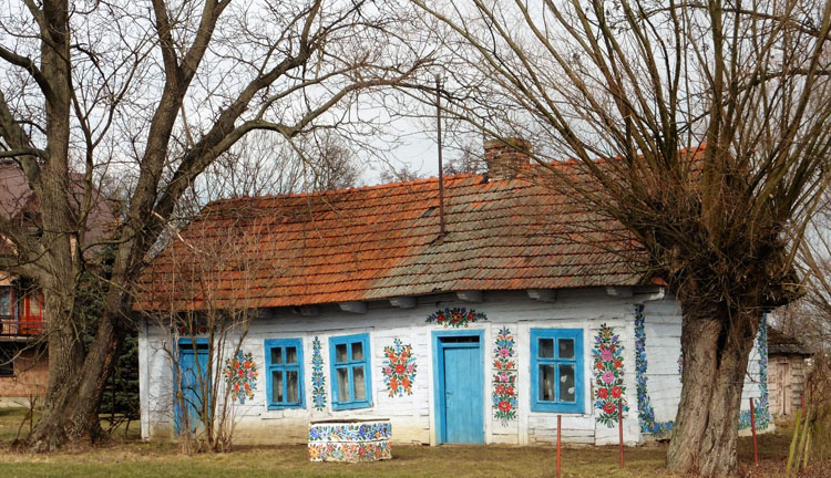 Painted house in Zalipie, Poland