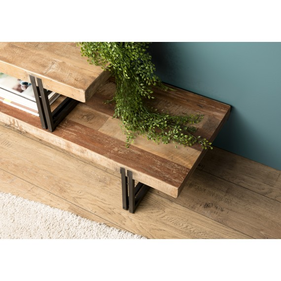 meuble tv 2 niveaux bois teck recycle acacia mahogany et metal