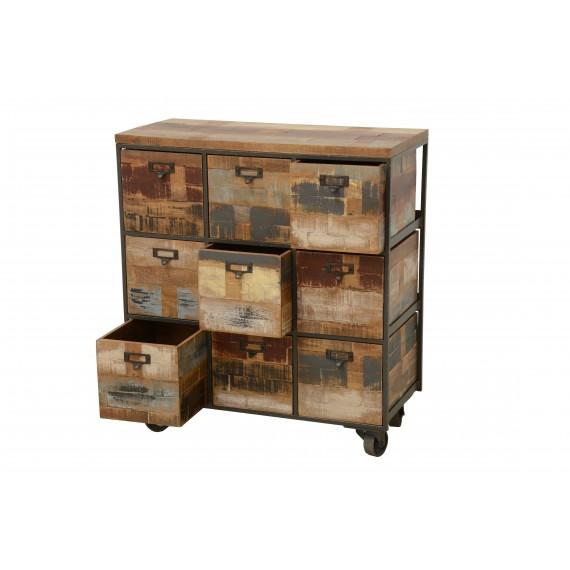 meuble 9 casiers de rangement sur roulettes finition recyclee
