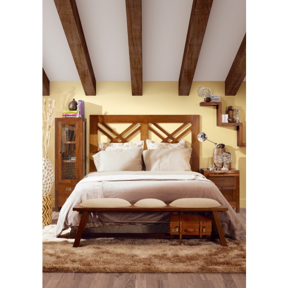 banc bout de lit tapisse maori