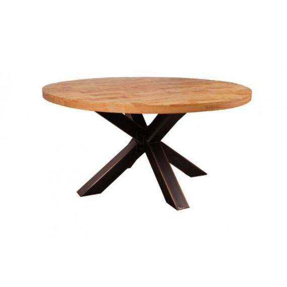grande table ronde industrielle pied mikado en fer et hevea massif naturel