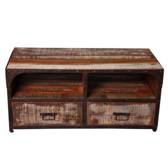 meuble tv bois cerclage fer vieilli 2 tiroirs tamang