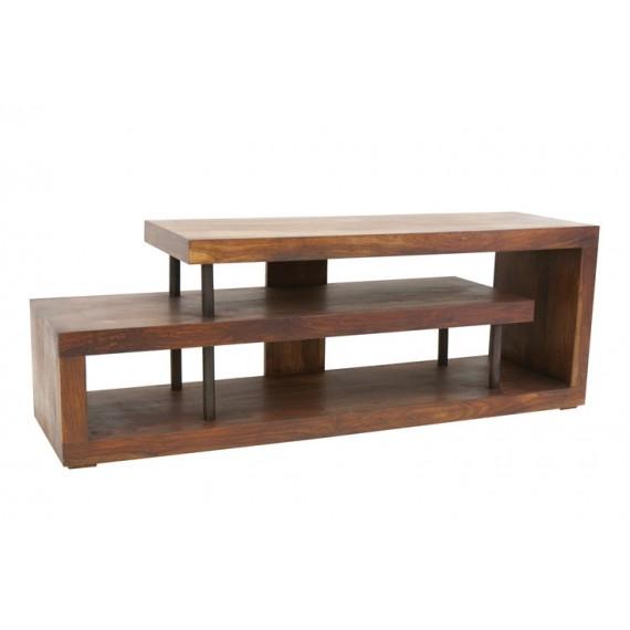 meuble tv escargot bois massif metal