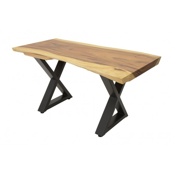 table repas plateau bois massif forme libre empietement fer forge modele croix