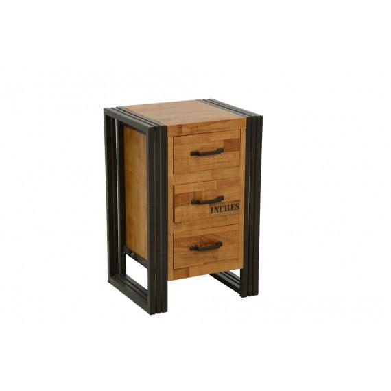table de chevet haute 3 tiroirs finition naturelle avec inscription