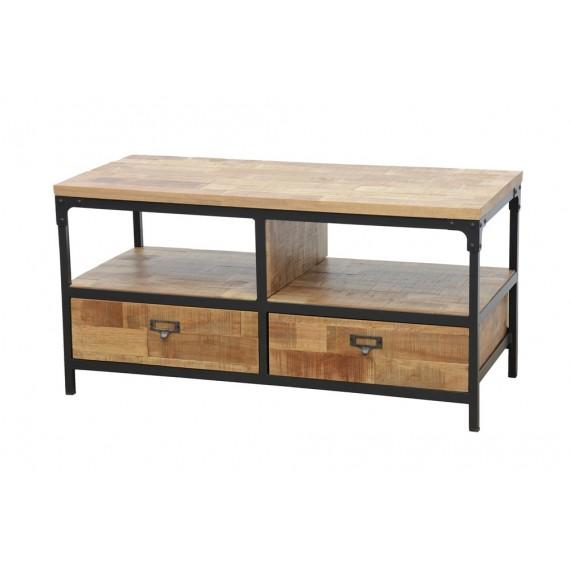 meuble tv 2 tiroirs 1m finition naturelle vieillie