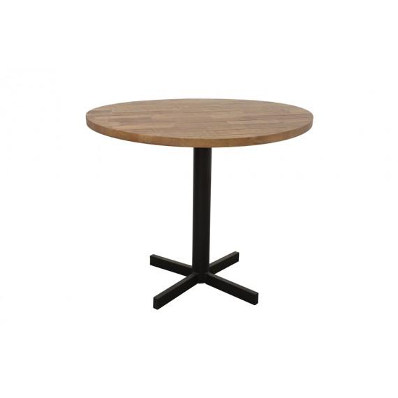 table ronde de bar pied central tube avec extremite en croix wolof finition naturelle vieillie