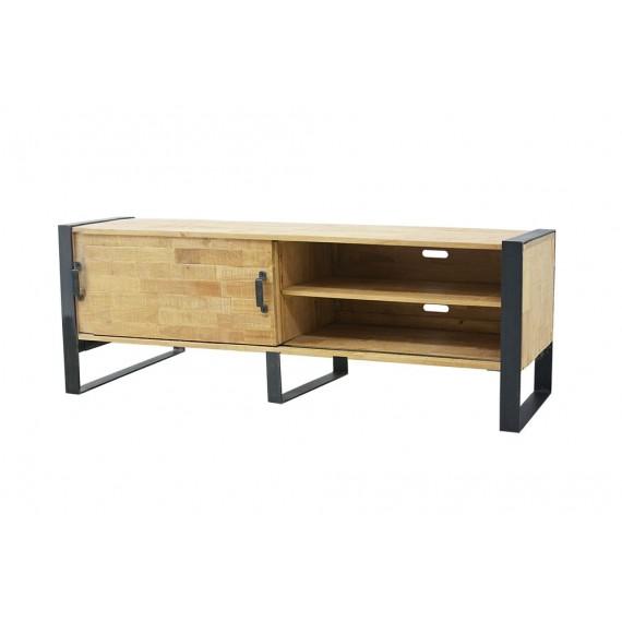 meuble tv fer plat industriel 1 porte coulissante