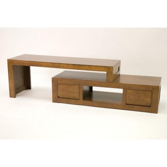 meuble tv 2 parties coulissantes extensible 2 tiroirs sami