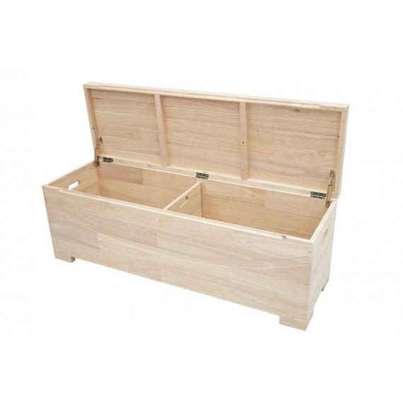 coffre long double compartiment en bois massif harari