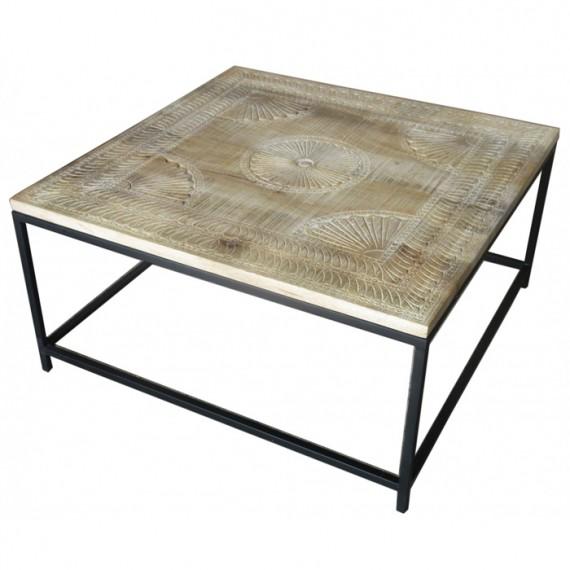 table basse carree plateau sculpte bois pied fer