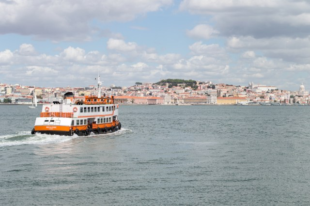 View of Lisbon from Cacilhas port, Almada.