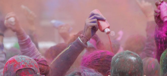 getting colored at holi
