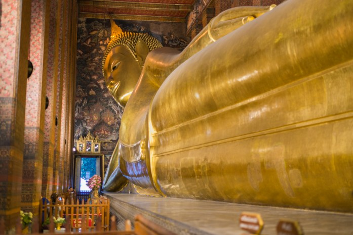thailand, bangkok, buddha, wat pho, reclining, gold