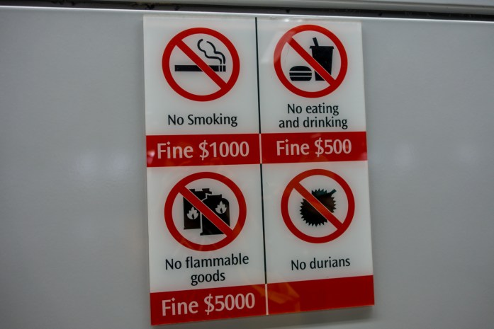 singapore, strict, laws, durian, fines, subway, mrt