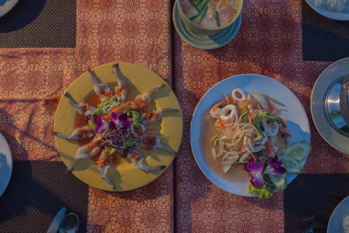 thailand, koh samui, beach, sunset, dinner, food