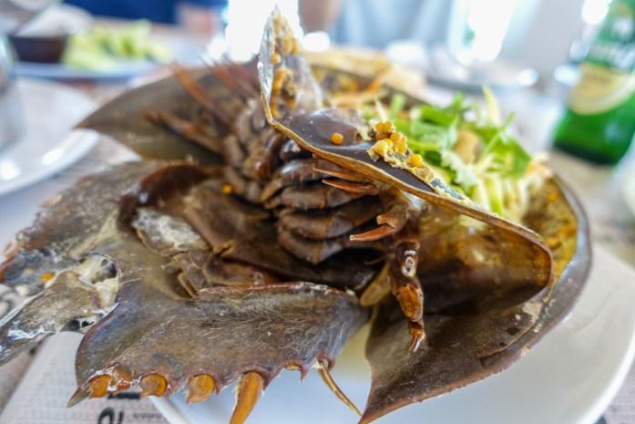 thailand, don sak, surat thani, food, horseshoe crab, yam kai mengda