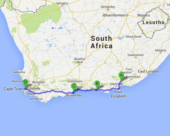mapa garden route