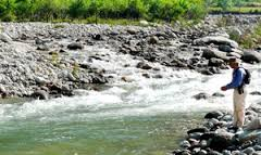 Tourist places to visit in Sangla valley hill station - Trout fishing in Baspa river