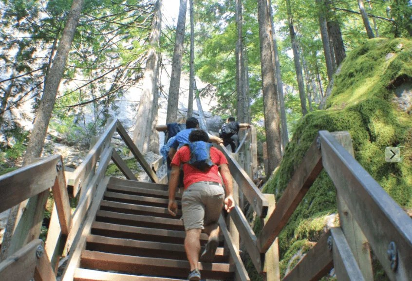 Hiking the stairs to get to the three peaks of The Chief, Squamish