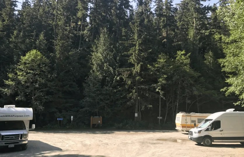 Free camping near Wedgemount Lake trailhead, Sea To Sky Highway road trip