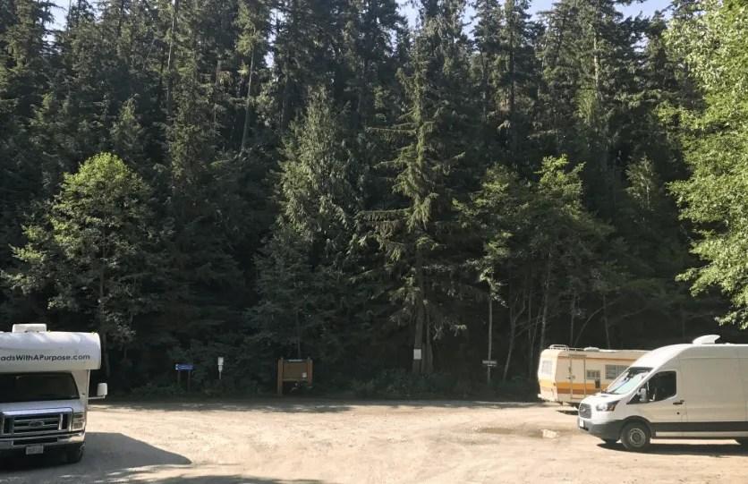 Free camping near Wedgemount Lake trailhead, Sea To Sky Highway road trip