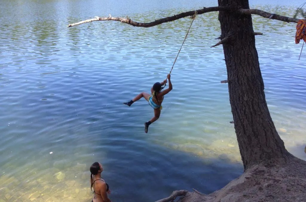 living adventurous life, rope swing Mt Shasta