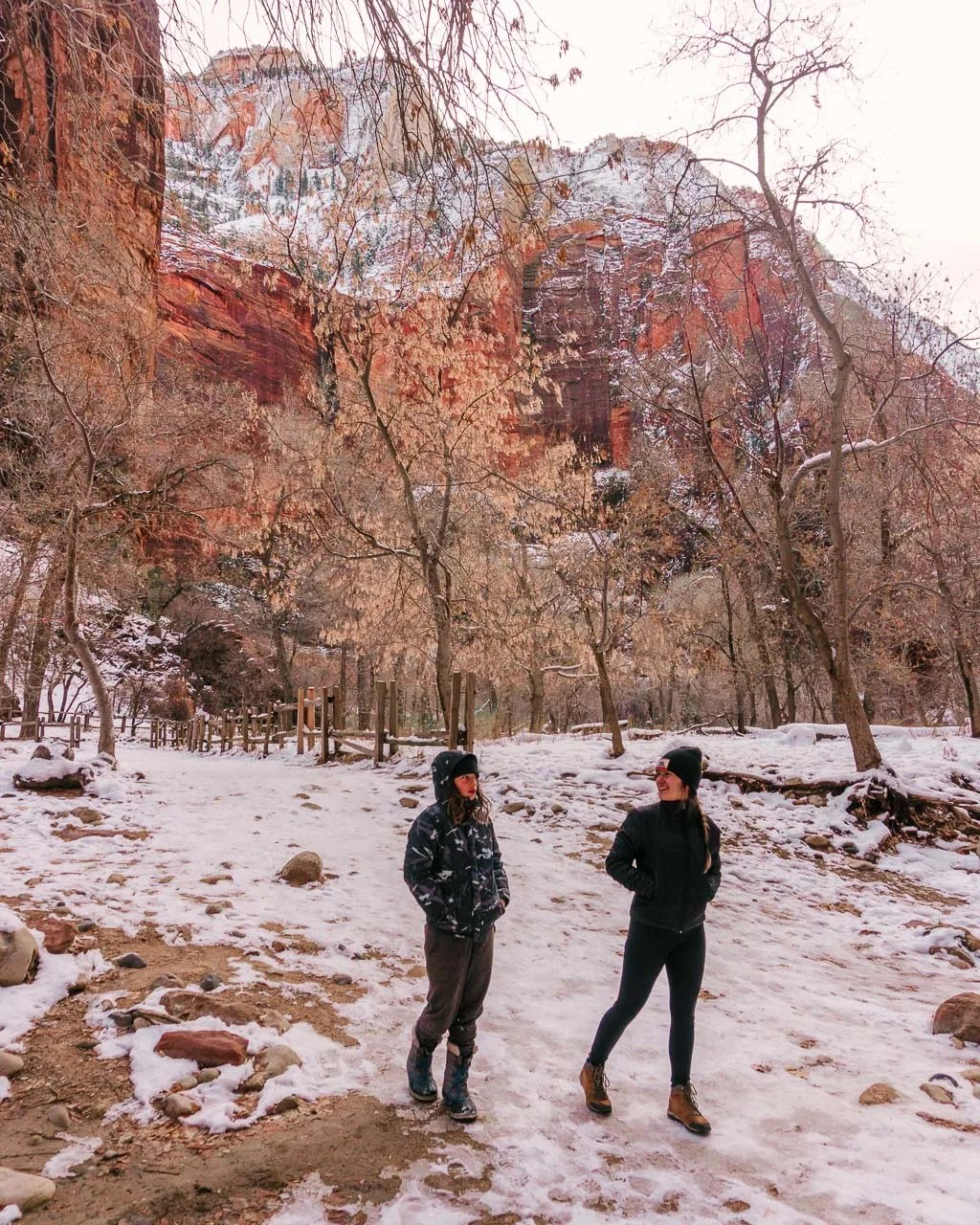 Winter at the Temple of Sinawa in Zion National Park