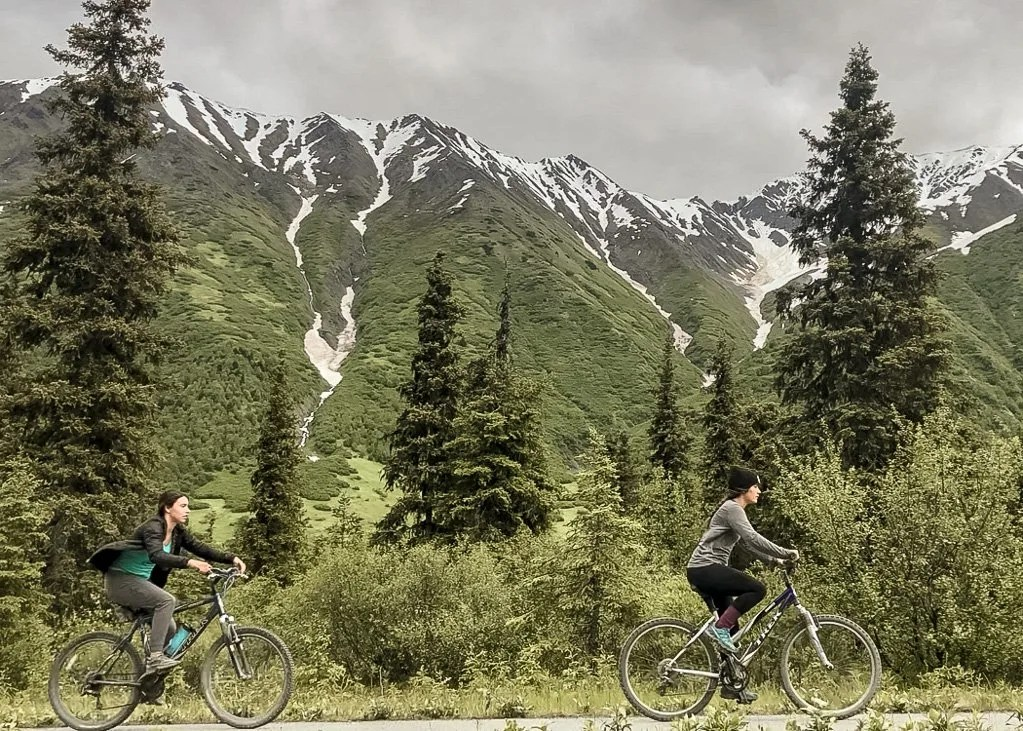 Biking Sixmile Trail bike path, Kenai Peninsula