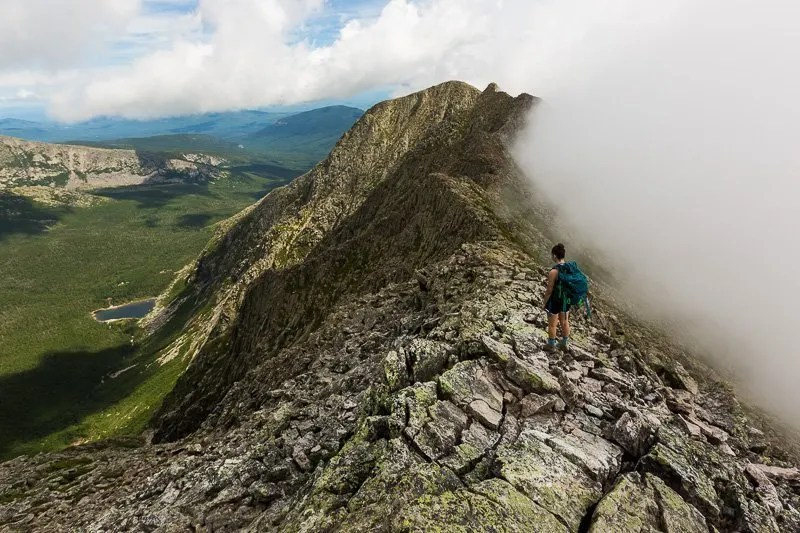 Knife's Edge Trail in Baxter State Park, Maine, Eastern USA