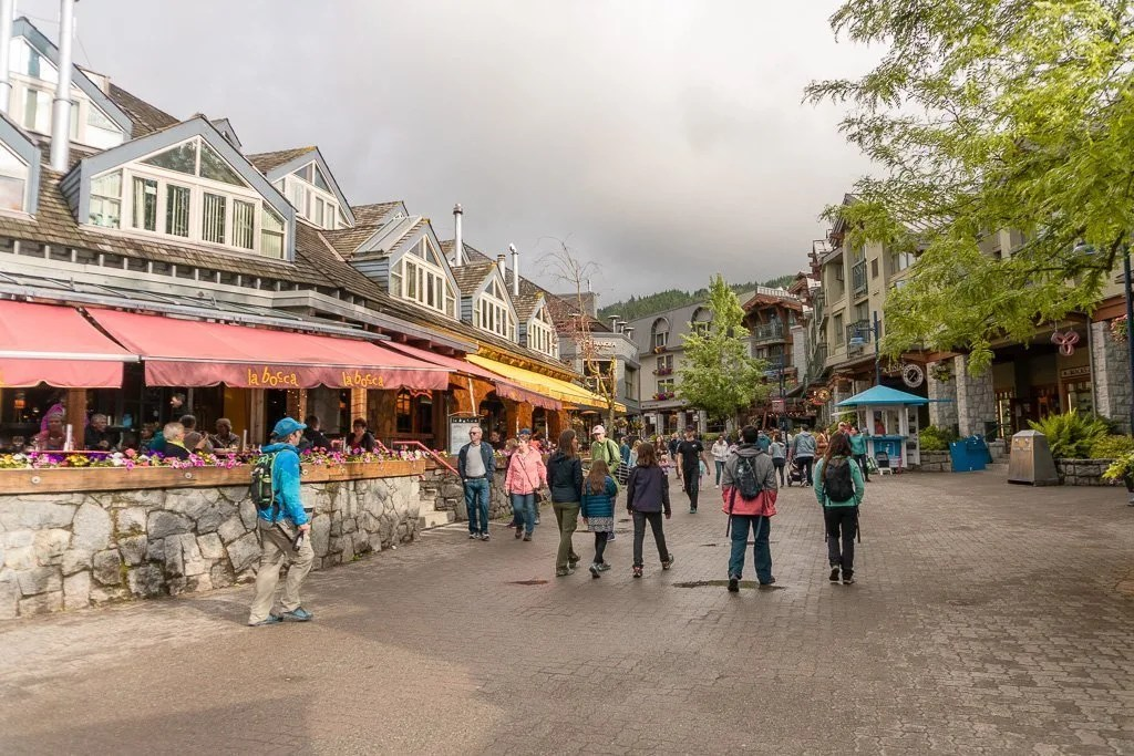 Walking through Whistler village