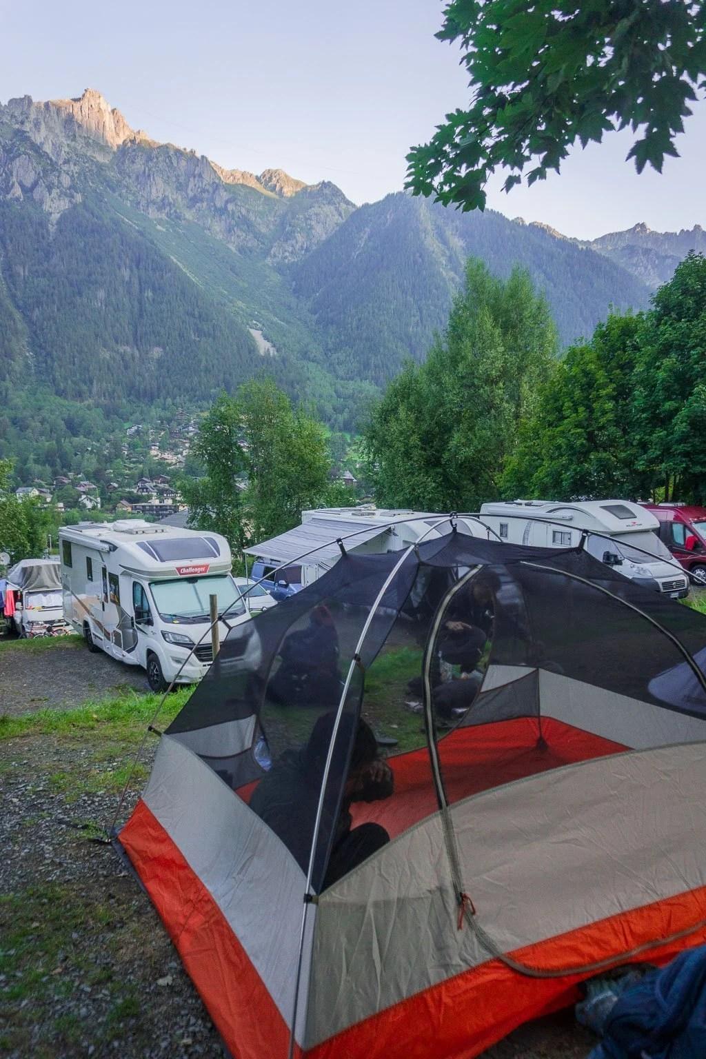 Camping Les Arroles, Chamonix, Start of the TMB