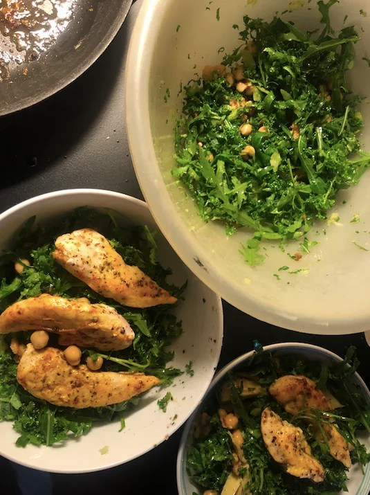 Stay fit while traveling salad and chicken