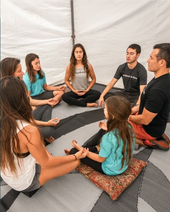 Family Meditating with kids