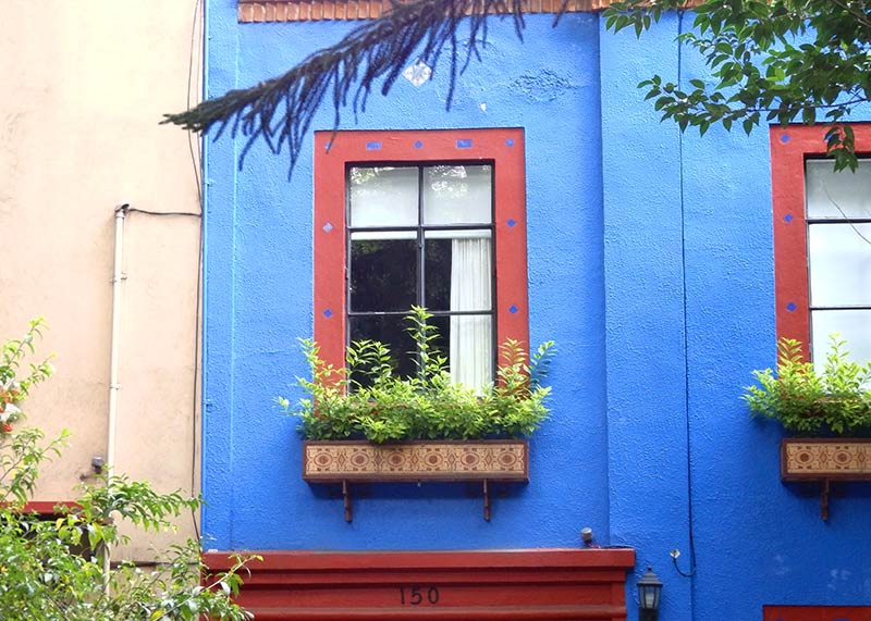 A colorful blue house, Avenida Amsterdam, La Condesa, Mexico City