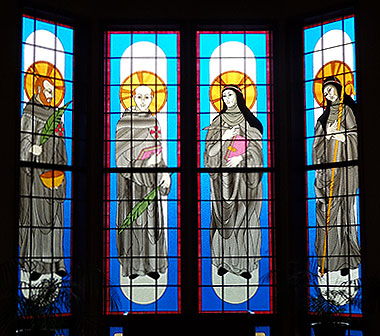 Stained glass windows in the Priory Church at the Brigittine Monastery in Amity, Oregon