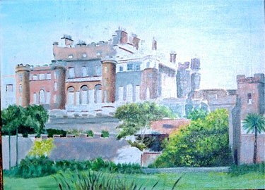 Watercolor painting of the main facade of Culzean Castle painted by President Dwight D. Eisenhower