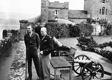 General Dwight D. Eisenhower on his first visit to Culzean Castle, in Scotland, with his son John, in 1946.