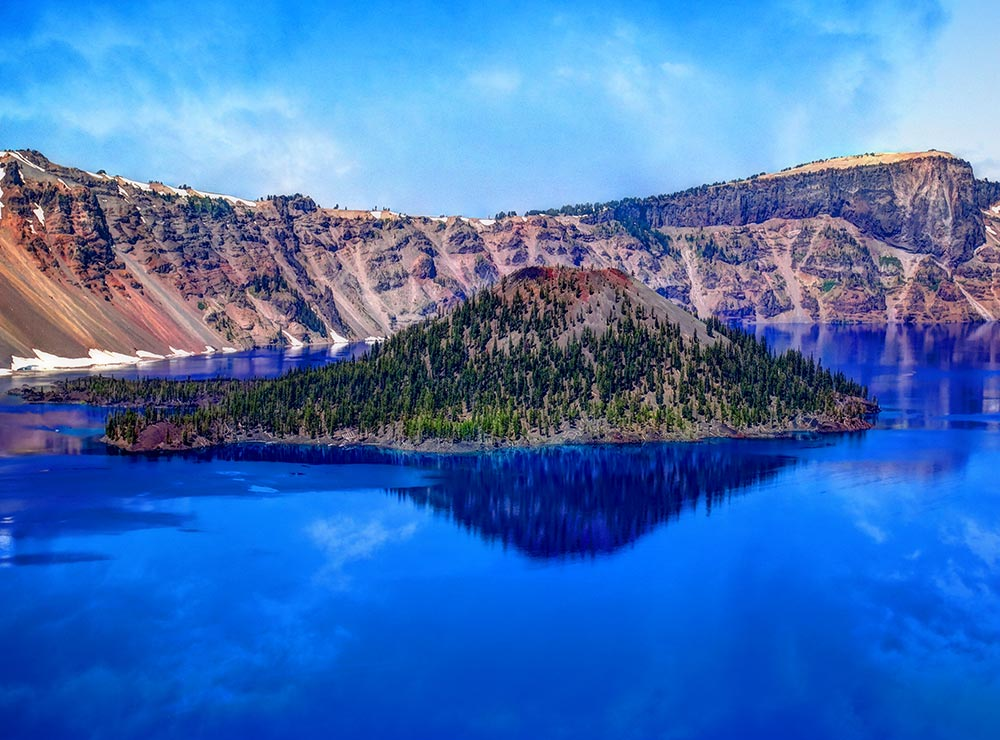 The deep blue water of Crater Lake, in Oregon's Cascade Mountains.